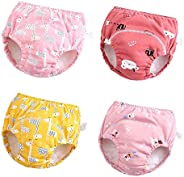 U0U Baby Girls'4 Pack Cotton Training Pants Toddler Potty Training Underwear for Boys and Girls 12
