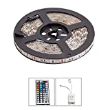 SWINCHO 16.4ft 5M Non-Waterproof Flexible LED Strip Lights 5050SMD RGB 300 LED Color Changing LED Strip Kit with 44Key Remote+IR Control Box ,For Bar/Bedroom/Car/DIY Party/Kitchen