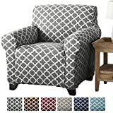 Home Fashion Designs Form Fit, Slip Resistant, Stylish Furniture Cover/Protector Featuring Lightweight Stretch Twill Fabric. Brenna Collection Basic Strapless Slipcover Brand. (Chair, Charcoal)