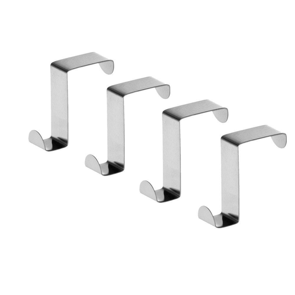 Moca Stainless Steel Over the Door Hooks Home Kitchen Cupboard Cabinet Towel Hooks (6Pcs) Moca00010