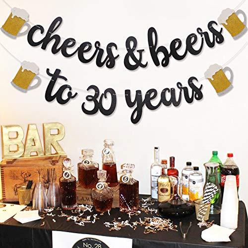 Cheers & Beers to 30 Years Black Glitter