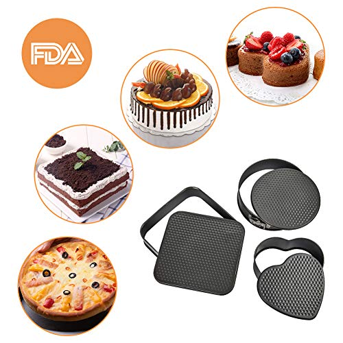 """Turbo Bee Springform Pan Set, 3pcs Nonstick Cake Pan Set With 8.6"""" Heart-Shaped, 9.6"""" Round, 10"""" Square Cake Pan, Bakeware Cheesecake Pans with 50 PCS Parchment Paper Liners and Detachable Bottom"""