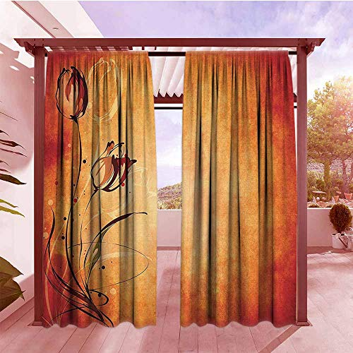 DGGO Exterior/Outside Curtains Antique Vintage Aged Background with The Silhouette of Rose Bloom Digital Image Hang with Rod Pocket/Clips W84x84L Orange Mustard Maroon