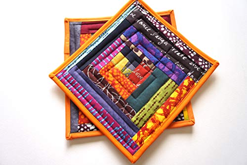 Contemporary Quilted Patchwork Pot Holders Set in Colorful Fabrics