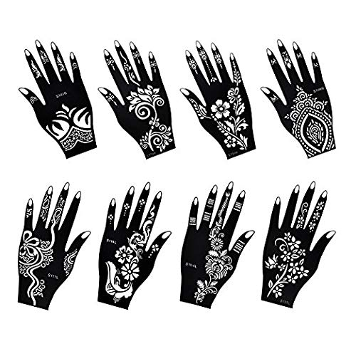 Henna Tattoo Stencil/Temporary Tattoo Temples Set of 8 Sheets,Indian Arabian Tattoo Reusable Stickers Stencils Body Art Designs for Hands