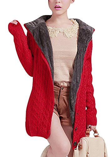 Keral Ladies Leisure Solid Color Knitwear Loose Sweater Hooded Long Coat_Red