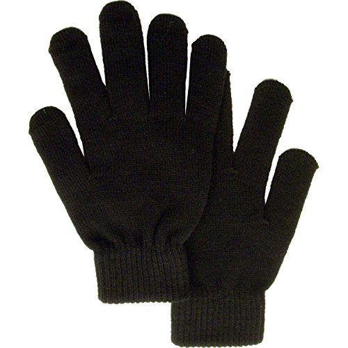 Simplicity Men/Women Full Gloves Solid Color Knitted Winter Warm Gloves, Black, One Size