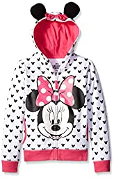 Disney Girls\' Big Girls\' Minnie Hoodie with Bow and Ear, White, Medium/8/10