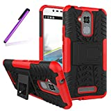 Asus ZenFone 3 Max ZC520TL Case, LEECOCO Heavy Duty Tough Armor Box Dual Layer Hybrid Hard PC and Soft TPU Shockproof Protective Defender Case for Asus ZenFone 3 Max 5.2 Inch Heavy Red