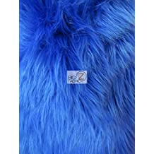 """FAUX FAKE FUR SOLID SHAGGY LONG PILE FABRIC - Royal Blue - 60"""" WIDTH SOLD BY THE YARD"""