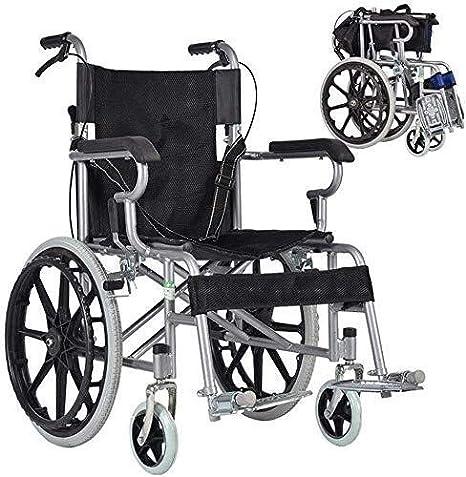 Hyy-yy Silla de ruedas de aluminio ligero de la silla de ruedas, plegable portátil de Tránsito Presidente de viaje, silla de ruedas-Operadora automotrices con reposapiés desmontables, Operadora de rue