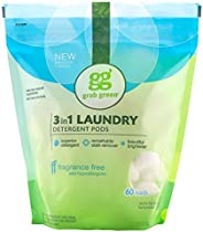 Grab Green Natural 3 in 1 Laundry Detergent Pods, Free & Clear/Unscented, 60 Loads, Fragrance Free, Organic Enzyme-Powered,