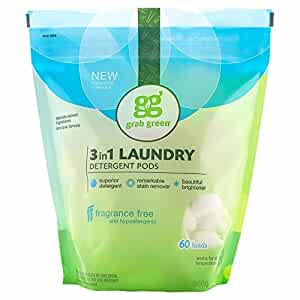 Grab Green Natural 3-in-1 Laundry Detergent Pods, Fragrance Free, 60 Loads