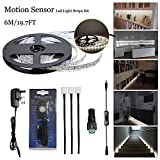 Motion Sensor LED Strip Lights, Moonlife99 DIY Under Cabinet Lighting Full Kit, DC12V 30W 8mm SMD3528 2 Pin with Ambient Light Dimmer Switch Controlled for Kitchen Home Decorative 20ft 300lm,3000-3500K