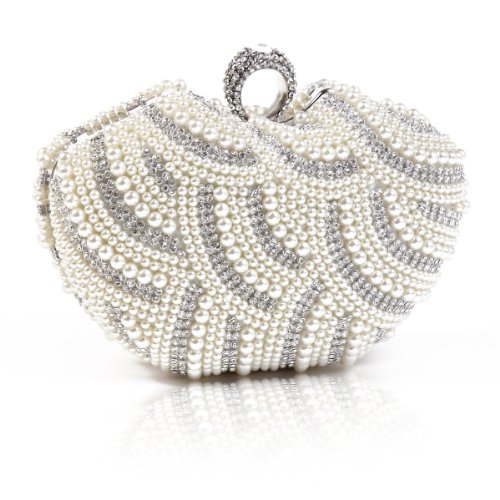 Damara Womens Luxury Special Crystals Beaded Pearl Clutch Bag,White