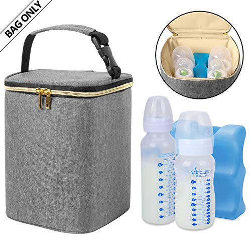 Teamoy Breastmilk Cooler Bag, Baby Bottles Bag for up to 4 Large 9 Ounce Bottles and Ice Pack, Perfect for Nursing Mom Back to Work, Bag Only, Gray