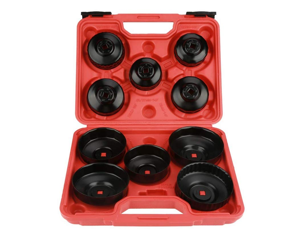HYCy 11 PCS Full Size Oil Filter Wrench Set, Cup Type Socket Removal Tool Set Universal Oil Change Filter Wrench by HYCy (Image #1)