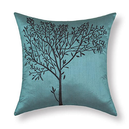 CaliTime Cushion Cover Throw Pillow Case Shell for Sofa Couch Home Decoration Natural Tree Embroidered 18 X 18 Inches Teal Brown ()