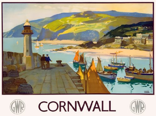 TU80 Vintage GWR Cornwall Great Western Railway Travel Poster Re-Print - A2+ (610 x 432mm) 24