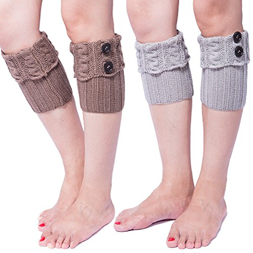2 Pack of Womens Short Crochet Leg Warmer Knit Boot Socks Topper Cuff (Khaki/Light Grey)