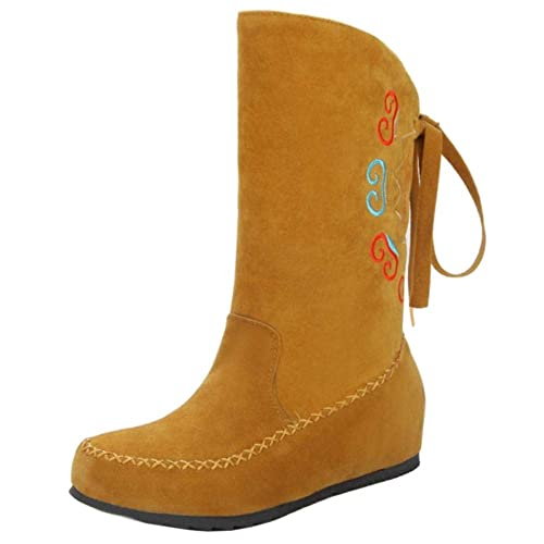 CularAcci Mujer Comodo Escondido Tacon Bajo Mocasines Botas Tire Flecos Tobillo Otono Botas Yellow Size 34