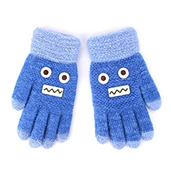 Flammi Kids Winter Knit Gloves Cartoon Robot Full Finger Gloves (Blue)