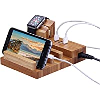 Wooden Charging Station, EPOLLO 3 USB Charger Bracket with Charging Stand for Apple Watch, 5V 3A Smart USB Port, Fast Charger Dock/Holder for Smartphones, Tablets