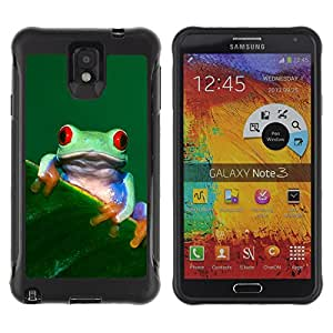 Exotic-Star Hybrid Heavy Duty Shockproof Ballistic Fundas Cover Cubre Case para Samsung Galaxy Note 3 III / N9000 / N9005 ( Enfriar Happy Tree Frog )