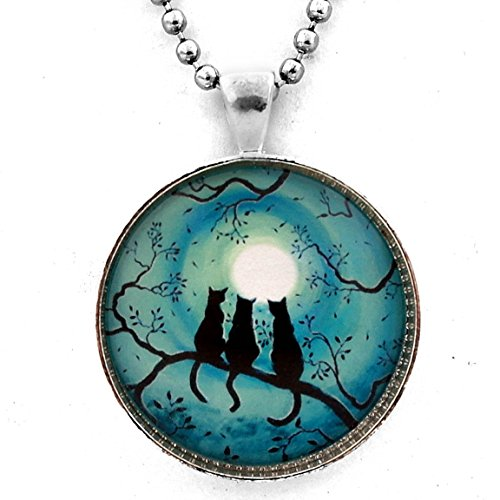 Laura Milnor Iverson Three Cats Necklace Black Silhouette Teal Blue Moon Handmade Jewelry Art Pendant (Unisex Ball Chain)
