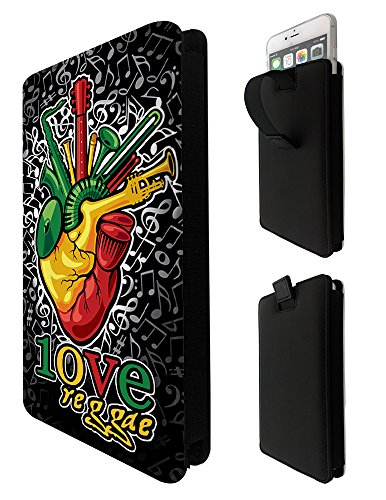1098 - Reggae Heart Beat Music Rasta Jamaican Sony Xperia X XA E3 E4 E5 M2 M4 Aqua M5/Samsung S3 S4 S5 Neo Grand Prime Fashion Quality Tpu Leather Pull Tab Pouch Case Sleeve Cover