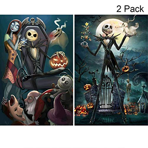 2 Pack 5D Full Drill Diamond Painting Kit, KISSBUTY DIY Diamond Rhinestone Painting Kits for Adults and Beginner Embroidery Arts Craft Home Decor, 15.8 X 11.8 Inch (Jack Halloween King) -