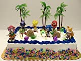 Unique 12 Piece Classic Sonic the Hedgehog Cake Topper Set Featuring 4 Sonic Rings, Super Sonic, Amy Rose, Miles Tails Prower, Sonic, Metal Sonic, Knuckles, And 2 Decorative Cake Pieces