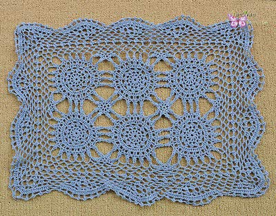 (FidgetGear Vintage Hand Crochet Cotton Placemat 13x19 Doily Cup Mat 6 Colors Warm Blue)