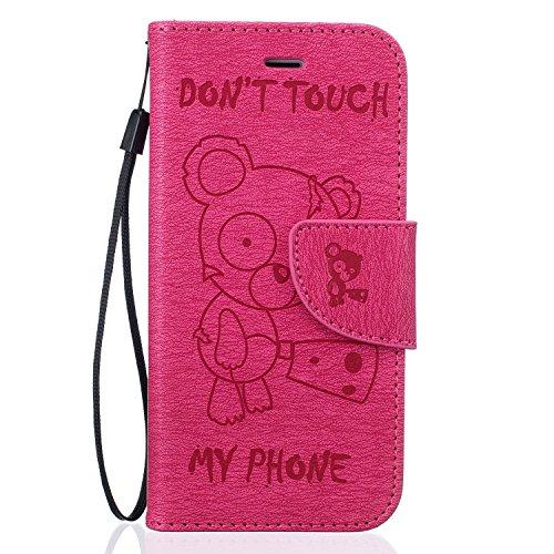 Für Apple iPhone 7 Plus (5,5 Zoll) Tasche ZeWoo® Ledertasche Kunstleder Brieftasche Hülle PU Leder Schutzhülle Case Cover - BF074 / Rose Bär