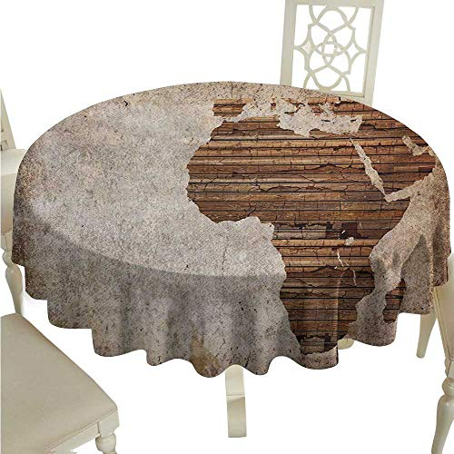 White Round Tablecloth African,Geography Theme Grunge Vintage Wooden Plank and Africa Map Digital Print,Tan Umber and Brown Diameter D36,for Wedding Reception Nave Blue