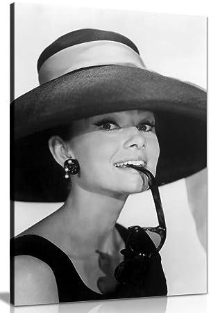 Audrey Hepburn avec lunettes de soleil Noir et blanc sur toile murale Art Picture Print, noir/blanc, A4 31x20cm (12x8in)