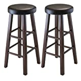 Antique Bar Stools Winsome Wood Marta Assembled Round Bar Stool with PU Leather Cushion Seat and Square Legs, 29-Inch, Set of 2