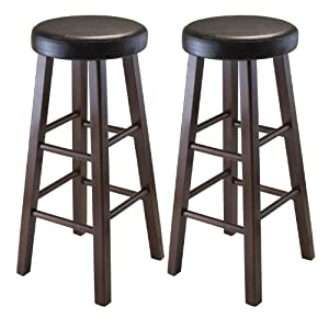 Winsome Wood Marta Assembled Round Bar Stool with PU Leather Cushion Seat and Square Legs Inch Set of 2