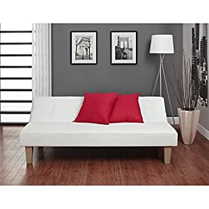 Convertible Futon Sofa Bed is Upholstered with Faux Leather for Sitting Lounging Sleep Sofa Canape Multi-position Click-Clack with Twin Soft Mattresses plus FREE GIFT
