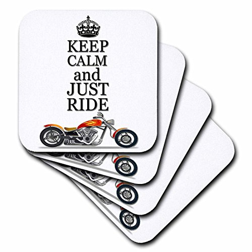 3dRose Keep Calm and Just Ride. Cool Motorcycles Saying. - Soft Coasters, Set of 4 (CST_220704_1)