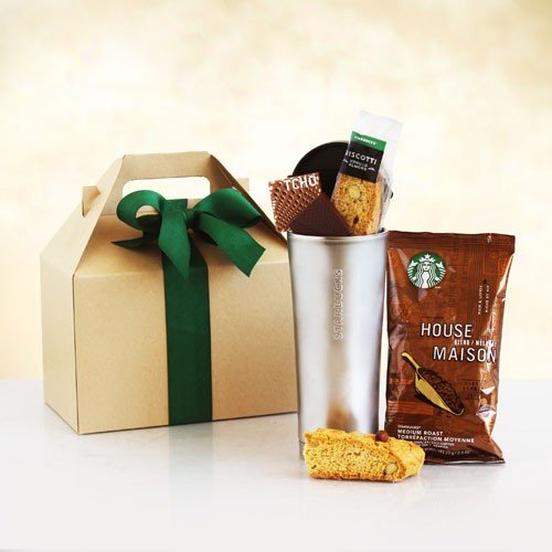 Thank You Gift Box | Starbucks Coffee, Biscotti, Chocolate Bar and Insulated To Go Cup (Thanks Giving Basket)