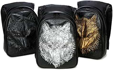 02c9dd482ee7 Studded PU Leather Casual 3D Lion Backpack for Student Hiking Laptop Backpack  School Daypack