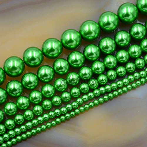 AD Beads Top Quality Czech Glass Pearl Round Beads 16 3mm 4mm 6mm 8mm 10mm 12mm (8mm, Green)