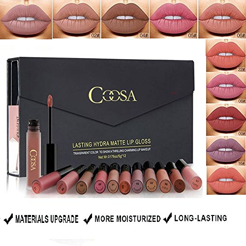 Coosa 12 Colors Nude Matte Liquid Lipstick Set Non-Stick Cup Waterproof Long Lasting Velvet Matte Lip Gloss Gift Set by COOSA