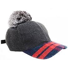 Fashion Tweed Grey Plaid Baseball Hat with Furry Pom