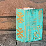 Gold Accent Wedding Guest Book Album ~ weathered and rustic Aqua Blue