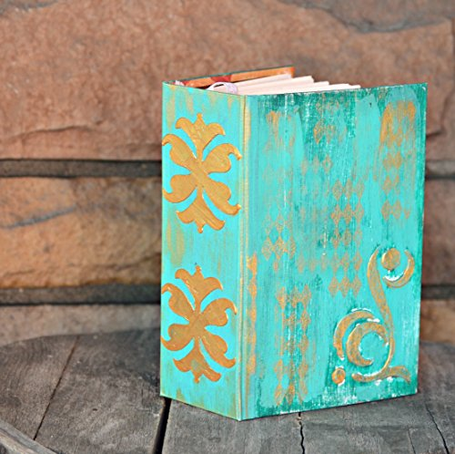 Gold Accent Wedding Guest Book Album ~ weathered and rustic Aqua Blue by The Modern Haberdashery