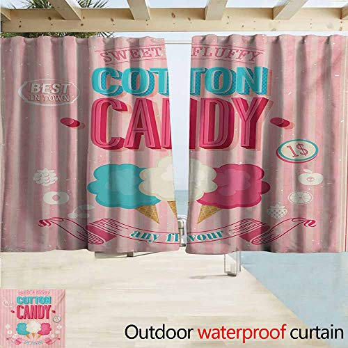 AndyTours Exterior/Outside Curtains,Vintage Cotton Candy Advertising Poster Design Aged Look Sweet and Fluffy Tasty Flavors,Draft Blocking Draperies,W55x63L Inches,Multicolor