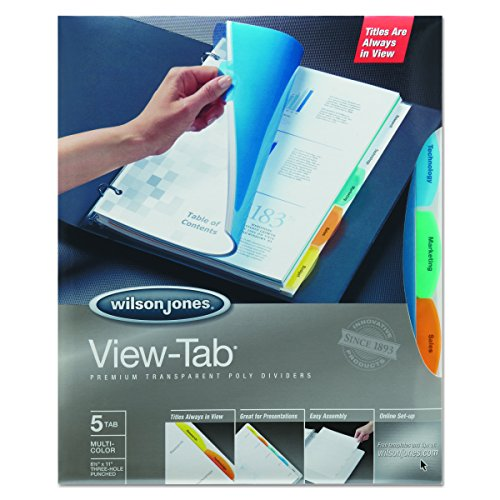 Wilson Jones 55565 View-Tab Transparent Index Dividers, 5-Tab, Rectangle, Letter, Assorted (Box of 5 Sets)