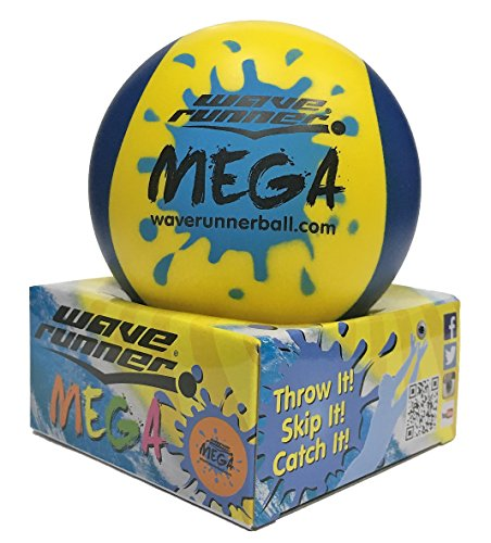 Bouncing Flash Ball (Wave Runner Water Mega 2-Tone Hydro Bouncing Ball Great for Beach Pool Pond Water Parks Vacation Summer Spring The #1 Skipping Ball (Yellow Blue))